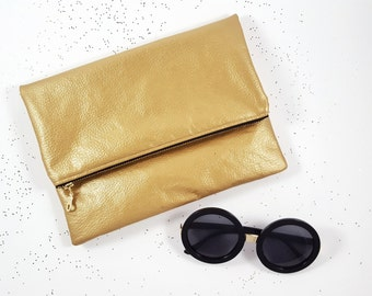Metallic Gold Clutch, Gold Purse, Foldover Clutch, Gift For Her, Birthday Gift, Handbag