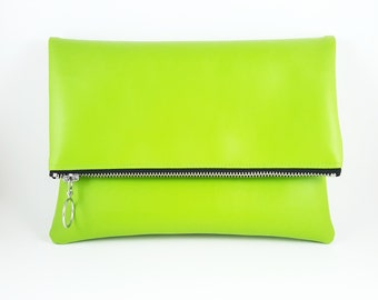 Lime Green Purse, Clutch Purse, Foldover Clutch, 60's Style, Gift For Her, Retro Purse, Birthday Gift, Mod Style