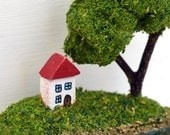 Miniature House English landscape in a spoon: seaside, trees, sculpture, lake scene, beach, keepsake, new home, wedding, cottage, sea, water