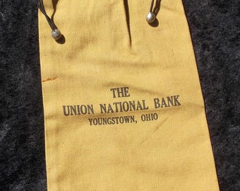 The Union National Bank, Youngstown Ohio, Canvas Money Bag