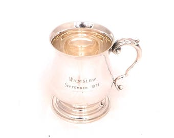 Vintage Pinder Bros Silver Plated Tankard, Half Pint Pitcher, Engraved Beer Tankard Goblet, Georgian Sheffield Silver Pub Half Pint Mug