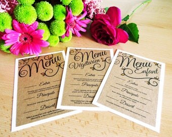 Be Our Guest Menus SAMPLE. Kraft Card on Hammered White Card with Hand Painted Gold Leaves