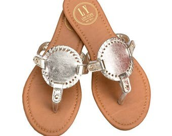 Monogrammed Gold Sandals! Monogram Medallion Sandals are hot this year!!!