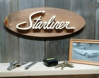 1963 Ford Starliner Emblem Oval Wall Plaque-Unique scroll saw automotive art created from wood for your garage, shop or man cave.