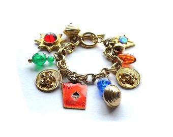 Charm Bracelet, Gambling Bracelet, Astrology Bracelet, Theatre Bracelet, Vintage Jewelry