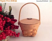 Flip Top Basket with Handle Beige Chipwood Doll Accessory Craft Supply Home Decor