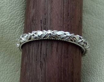 Thin Art Deco Style Carved and Milgrain Wedding  Band Ring 18k  Solid White Gold Vintage / Antique Style Ring