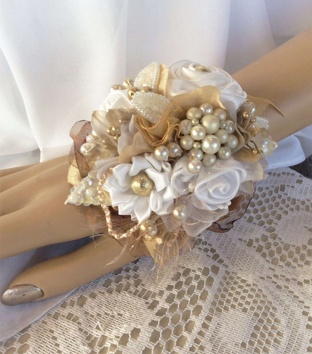 Embellished Gold &White Wrist Flower Corsage-Prom Corsage-Prom