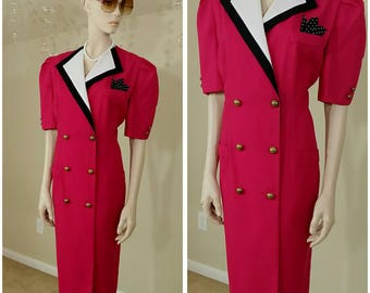 Vintage 90s fuchsia dress size 14 by Danny & Nicole