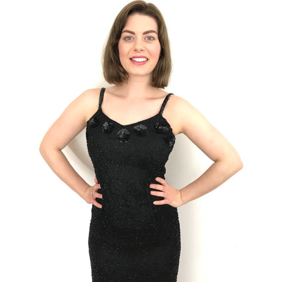 Vintage sequin dress 1980s long black ornate beading cabaret UK 8 glam cocktail long hourglass
