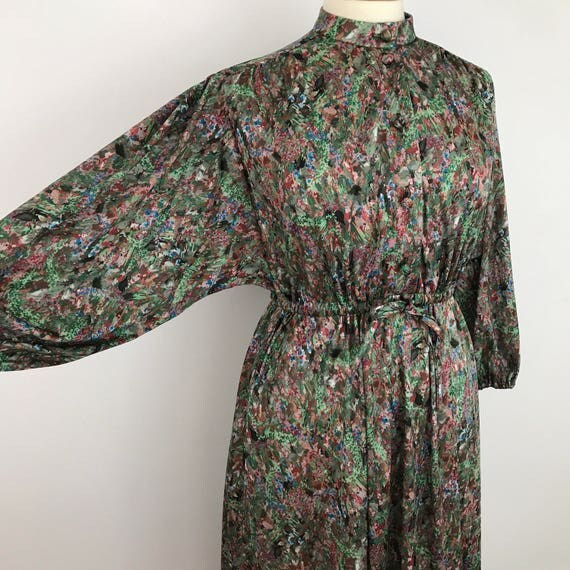 vintage floral dress 1970s Mod dress UK 14 16 paintily abstract 3/4 long sleeves polyester day dress office drawstring waist