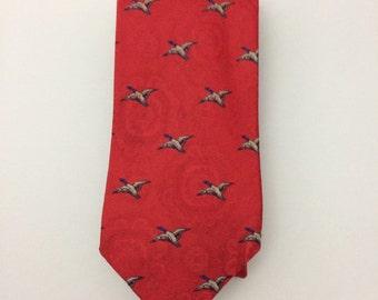 Vintage Mallard Duck Red Silk Tie, Jacobs Roberts red silk tie, silk neckties, silk ties, ties, vintage neckties