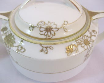 Japanese Porcelain, Hand Painted Moriage Nippon China Sugar and Creamer