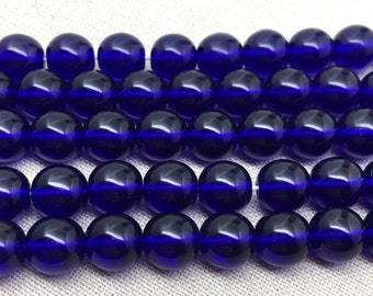 25 Cobalt Blue Czech Round Glass Beads 8mm