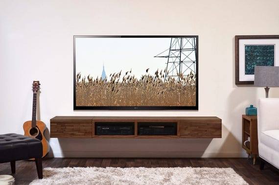 Floating TV Stand Entertainment Console - Mayan Mocha