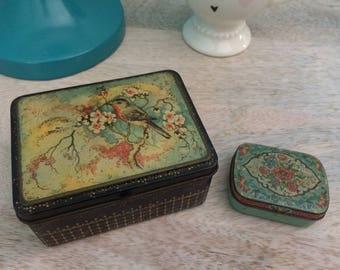 Vintage Shabby Chic Tin Made in Holland and Floral Pill Tin