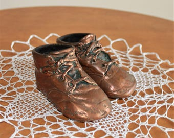 Vintage Mid Century Bronze Pair Baby Shoes Stamped 5851