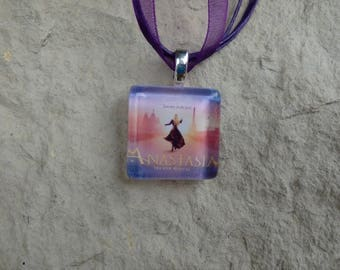 Broadway Musical Anastasia Glass Pendant and Ribbon Necklace