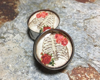 """Roses and Ribcages Plugs, gauges  0g, 00g, 7/16, 1/2, 9/16, 5/8, 3/4, 7/8, 1"""", 1 1/8, 1 1/4, 1 3/8, 1 1/2, 1 5/8, 1 3/4, 1 7/8, 2"""""""