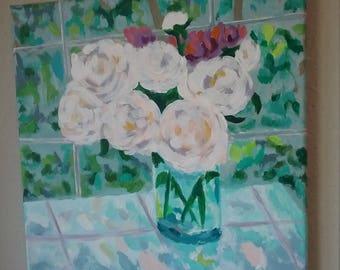 Peony Rendition an Original Acrylic Painting