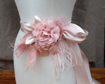 Bridal Sash wedding soft pink pastell belt Flower Sash vintage Bride blush dusky pink Peacock edwardian romantic Bridesmaid peach unique
