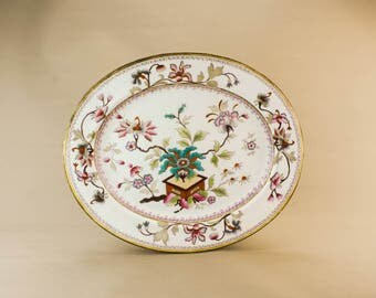 Opulent Pottery Unique Floral Large Serving PLATTER Antique High Victorian Red Fruit Dinner English Mid 19th Century LS