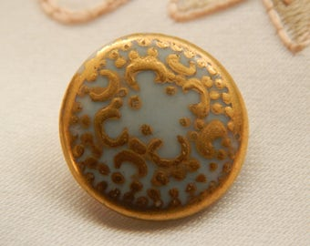 Painted Antique Porcelain Button - Heavy Gold Paint