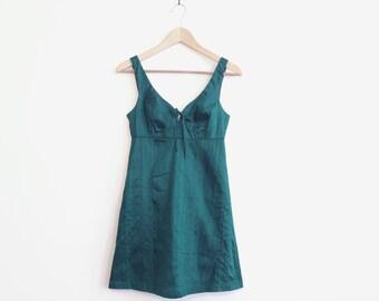 Emerald Green Silk Clueless Babydoll Dress