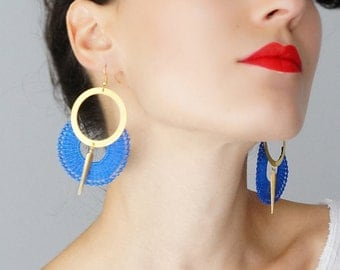 Summer Outdoors 4th July Wife Gift For Aunt For Her Girlfriend Gift For Mom Hoop Earrings Lace Earrings Statement Earrings / OCRI