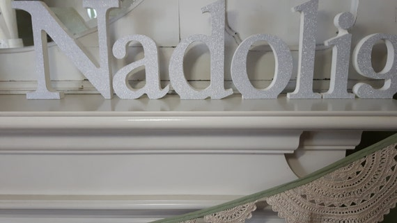 Nadolig Welsh silver glitter covered freestanding wooden decoupaged letters. 15cm