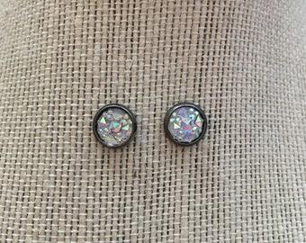 8mm Metallic Crystal Stud Earrings