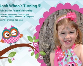 Owl Birthday Invitation Look Whoo's Turning...