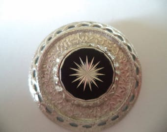 Vintage Signed Sarah Coventry Silvertone/Black Star  Brooch/Pin
