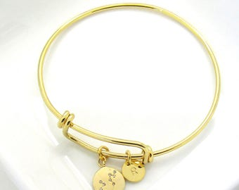Gold Personalized Constellation Bangle- Gold Zodiac Bracelet-Constellation Jewelry-Zodiac Jewelry-Celestial Bracelet,Sagittarius, Capricorn