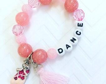 Dance Beaded Bracelet, Ballerina Beaded Bracelet, Pink Ballet Bracelet, Tassel Dance Bracelet, Jewelry For Dancers, Tassel Jewelry