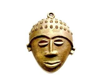 Vintage Tribal Face Mask, Brass Wall Mask, Hand Made Metal African Wall Mask, Tribal Art, African Decor