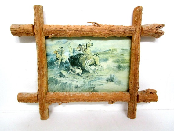 Charles M. Russell Print on Canvas, Old American West, Framed with Genuine Saguaro, American Indians, Hunting Bison, Very Old