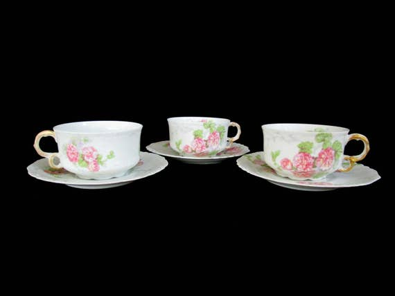 Antique Limoges Tea Cup and Saucer, Jean Pouyat, JPL Limoges, Pink Carnations, Pink Floral Limoges Coffee Cup and Saucer, 3 Avail