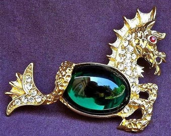 KJL Seahorse Brooch - Jelly Belly with Crystals - S2079