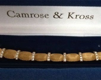 Jackie Kennedy Mesh Bracelet - 24K GP with Crystals, Box and COA - Sz 7 or 8