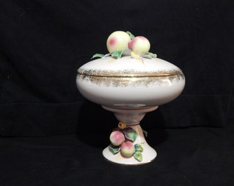 Lefton Pink Pedestal Compote with Gold Trim