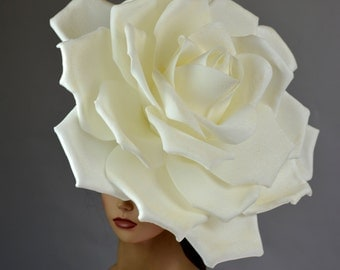 Over Size Rose Headband Wedding Hat  Kentucky Derby Hat Church Hat White Coctail Hat Couture Fascinator  Bridal Hat