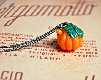 Halloween inspired cute pumpkin long necklace