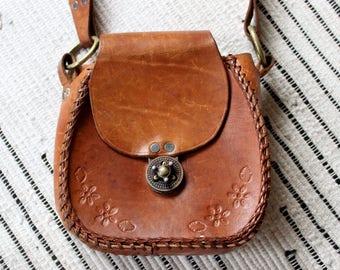 Hand Crafted Vintage Boho Brown Leather Purse/ Shoulder Bag/Handbag with Embossed Floral Pattern