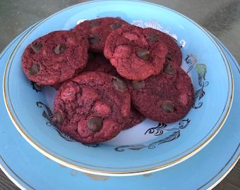 Red Velvet Chocolate Chip Cookies - 1 Dozen