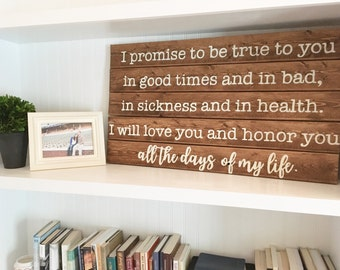 Wedding Vow Wood Sign   hand painted wood sign   pallet art   pallet sign   hand crafted sign   farmhouse style sign