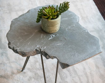 Concrete End Table Live Edge Wood Slice Table Concrete Table End Table  Minimalist Table Wood Slice