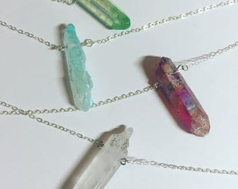 "Kyber Crystal Necklaces • Quartz Crystal • Clear/Green/Blue/Red • Solid Sterling Silver Chain • 29"" long, bust length • Gifts for Nerds"
