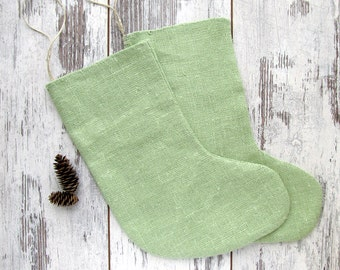 4 Family Christmas Stockings, Burlap Green Christmas stockings, Rustic burlap stockings, Christmas stockings
