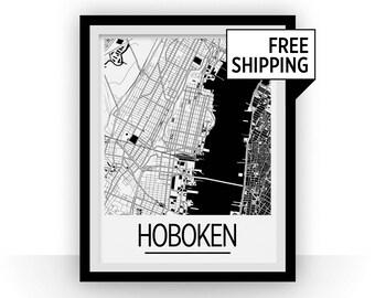 Hoboken Map Poster - New Jersey Map Print - Art Deco Series